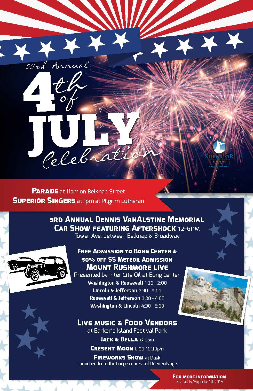 4th of July Flyer for 2019 listing activities